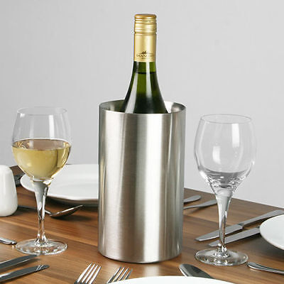 Wine Bottle Cooler Stainless Steel Ice Bucket Double Wall Brushed Finish • 7.99£