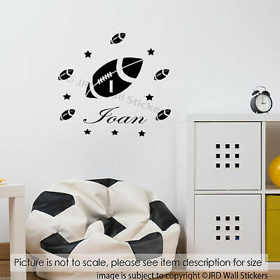 £8.50 • Buy Rugby Ball Art, Rugby Wall Sticker, Personalised Name Sticker, Kids Bedroom Wall