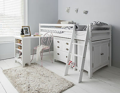 Cabin Bed Midsleeper Sleepstation With Chest Of Drawers, Cabinet, Desk Kids • 429.99£