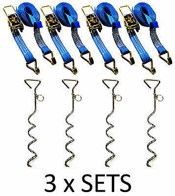 £44.49 • Buy 12 X MARQUEE STORM TIE DOWN GROUND PEG ANCHOR STAKES + 5 Metre Ratchet Straps