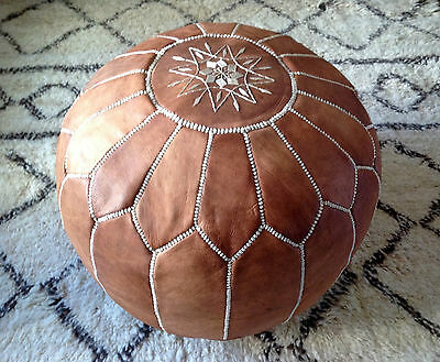 Moroccan Tan Hand Stitched Leather Pouffe • 59.99£