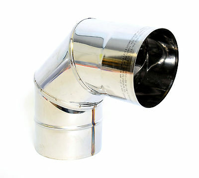 Stainless Steel Chimney Flue Liner Bend 90 Degree Elbow Single Wall Pipe Tube • 15.99£