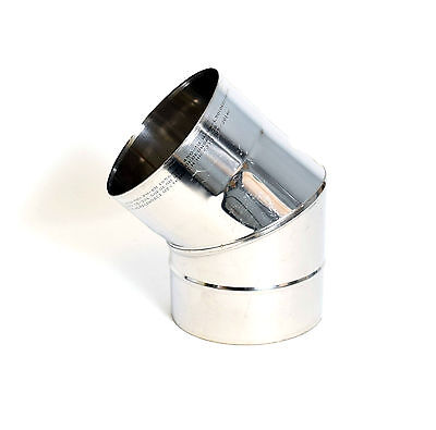 Stainless Steel Chimney Flue Liner Elbow 45 Degree Multi Fuel Stove Bend Pipe • 9.49£