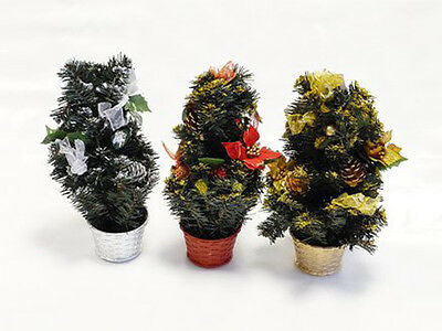 Table Top Centerpiece Mini Christmas Tree With Glitter, Holly & Ribbons In A Pot • 7.99£