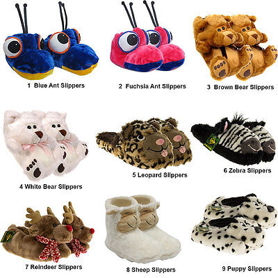 £6.85 • Buy Kids Ladies Womens Novelty Faux Fur Fluffy Winter Warm Animal Slippers Shoes