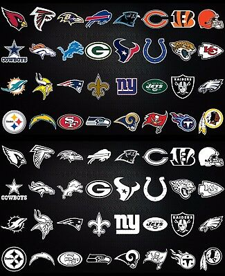 $7 • Buy NFL Football Window Bumper Sticker Vehicle Decals - Every Team - Color Or White