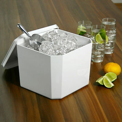 Octagonal Ice Bucket White 4.5ltr | Plastic Square Ice Cube Bucket Cooler • 11.99£