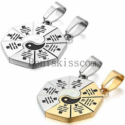AU18.29 • Buy Matching Yin Yang BA GUA Eight Trigrams Stainless Steel Couple Pendant Necklace