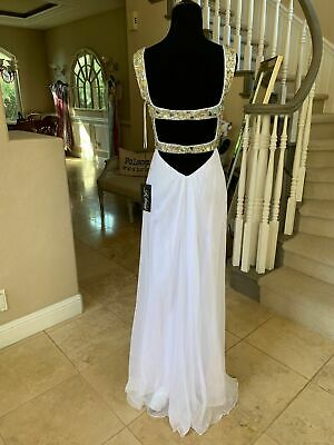 £108.39 • Buy $418 Nwt White La Femme Prom/pageant/formal/wedding Dress/gown #18487 Size 2