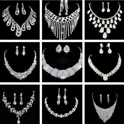 £4.79 • Buy Prom Wedding Party Bridal Jewelry Diamante Crystal Pearl Necklace Earrings Sets