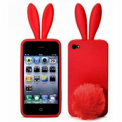 Red Bunny Rabbit Rubber Skin Case Ear & Tail Fur For Apple IPhone 4S 4 4G NEW • 4.14£