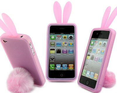 Pink Bunny Rabbit Rubber Skin Case Ear & Tail Fur For Apple IPhone 4S 4 4G NEW • 4.94£