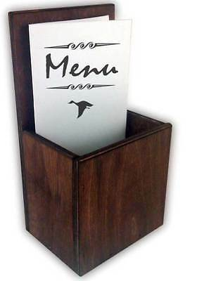 Wooden Takeaway Menu Holder Leaflet Table Top Pocket Dark Stain Bar Restaurant • 9.99£