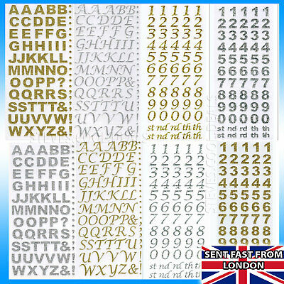 LETTERS NUMBERS STICKERS Silver Rose Gold Self Adhesive Glitter Alphabet Craft • 1.47£