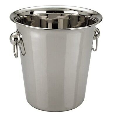 4L Stainless Steel Ice Bucket Champagne Wine Cooler With Handles Bar Pub Party • 7.99£