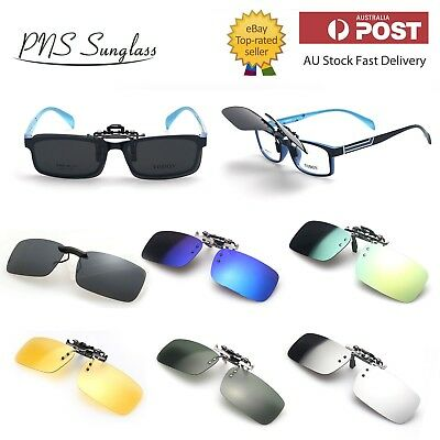 AU11.95 • Buy New Polarized Clip On Flap Up Mirror Sunglasses UV 400 Protection Mens Womens