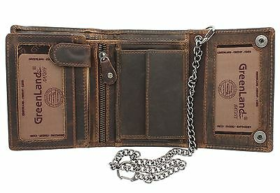 Greenland-Nature MONTANA Gents Leather Biker Wallet With Security Chain 191 • 44.99£