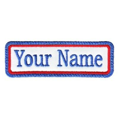 £4.50 • Buy Rectangular 1 Line Custom Embroidered Biker SEW ON  Name Tag PATCH (BLRB)