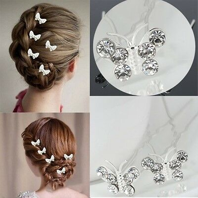 Butterfly Wedding Hair Pins Bridesmaid Crystal Diamante Bridal Hair Clips Grips • 2.99£