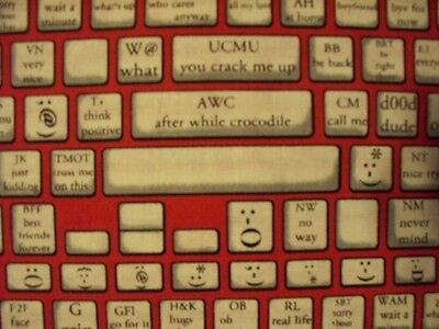 $5.55 • Buy Keyboard Typing Computer Phone Tablet App Red Black Cotton Fabric Bthy