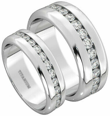 New Boxed 6mm/8mm His And Hers Titanium Wedding Engagement Matching Ring Set • 49.99£