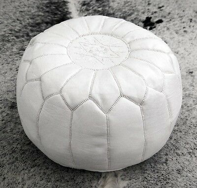 Moroccan White Hand Stitched Leather Pouffe • 64.99£
