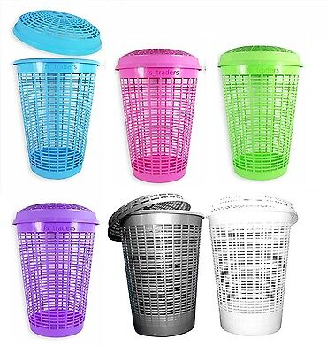 Circular Plastic Laundry Linen Washing Basket Bin Storage Hamper With Lid 6Color • 8.89£