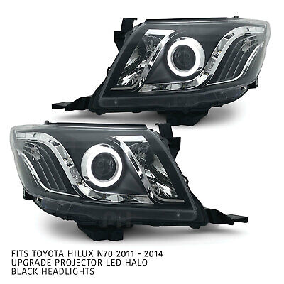 AU475 • Buy PRE-ORDER Headlights Black LED DRL Halo Projector PAIR Fits Toyota Hilux N70 06/