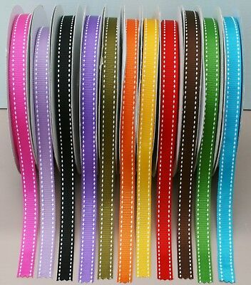Saddle Stitch Grosgrain ~ 9mm 13mm 15mm & Full Rolls ~ Assorted Colours • 1.15£