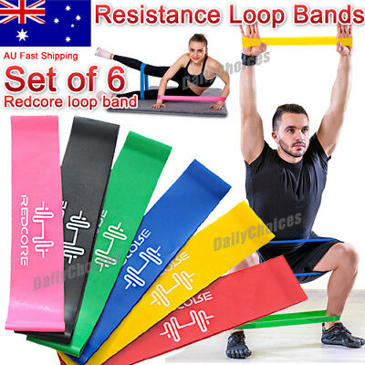 AU9.90 • Buy 6pcs Resistance Loop Bands Mini Band Exercise Crossfit Strength Fitness GYM