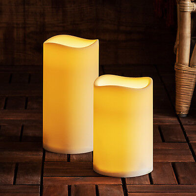 Large Outdoor Battery Operated LED Flameless Pillar Candle With Timer, 2 Sizes • 14.99£