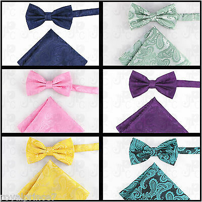 d92d70b20a02 New Men's Paisley Pre-Tied Butterfly Bow Tie And Pocket Sqaure Hanky Set •  9.48