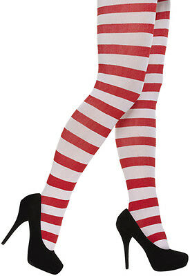 Red And White Striped Tights Xmas Elf Christmas Outfit Fancy Dress Costume • 3.49£