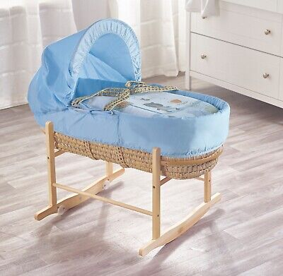 £48.95 • Buy Beary Nice Blue Palm Moses Basket With Natural Rocking Stand, Mattress & Bedding