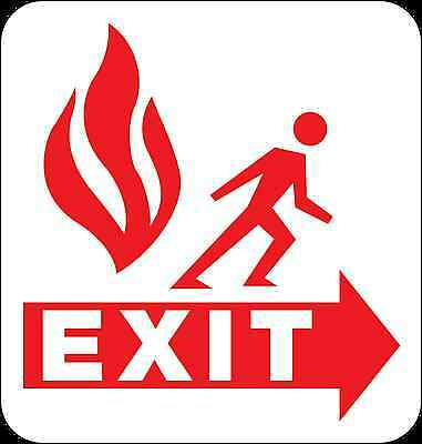 Health And Safety Fire Sticker Sign Fire Escape Exit Sticker Red • 1.73£