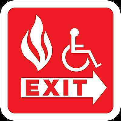 Health And Safety Fire Sticker Sign Fire Escape Exit Handicap Disabled Sticker • 1.73£