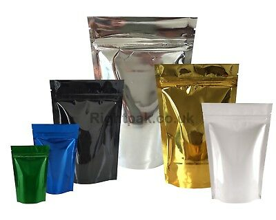 Shiny Heat Seal Stand Up Pouches Foil Sealable Coffee Bags With Zip Lock Bag • 5.99£