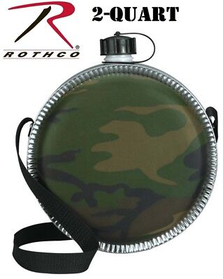 $ CDN18.76 • Buy Camouflage Scout Canteen 2 Qt. Aluminum Round Desert Canteen & Strap Rothco 174