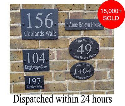 Rustic Slate House Gate Sign Plaque Door Number Personalised Name Plate Oval/rec • 6.98£