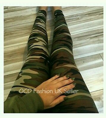 £6.99 • Buy Ladies Camo Camouflage Full Length Leggings Army Print Stretch Womens Trousers