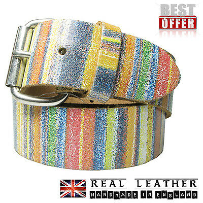 40mm Multi Rainbow Print 100% Real Leather Handmade In England For Mens Womens • 14.99£