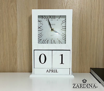 Chester - Vintage Wooden Clock With Perpetual Calendar Blocks • 22.50£