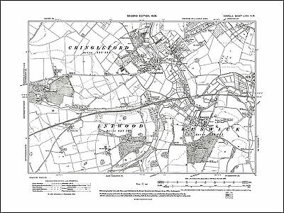Old Map Of Norwich, Cringleford, Keswick, Norfolk In 1908: 75NW Repro • 17.99£
