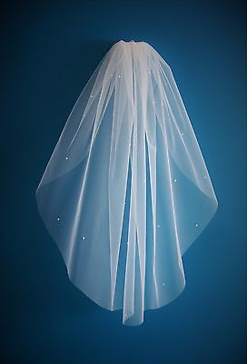 Bridal Veil *Elbow Length*1 Tier*Bespoke*Off White/Ivory*Pearl&Crystal* • 25.99£