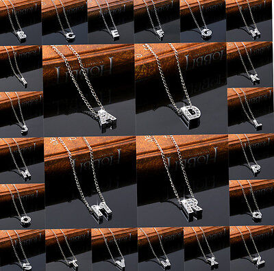 £2.99 • Buy Personalised Crystal Diamante Initial Letter Necklace  Retro Bling Vtg Name Gift