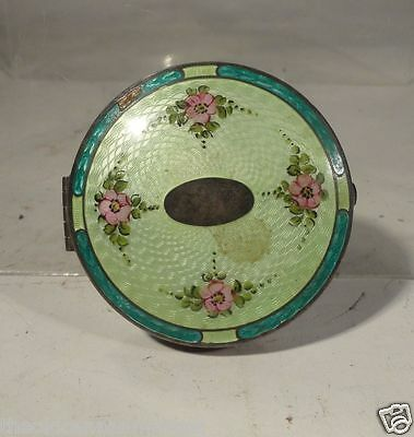 Antique Sterling Silver Guilloche Enamel Vanity Makeup Compact Mirror Makeup • 156.30£