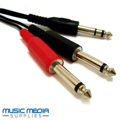 6.35mm 1/4  Jack Audio Insert Cable Y Lead Stereo Plug To 2 X Mono Plugs - 2m • 3.99£