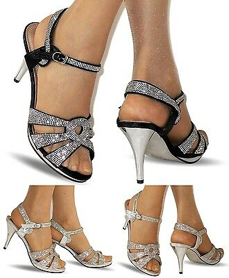 £13.99 • Buy NEW Ladies Party Diamante Ankle Straps Low Mid Heel Shoes Sandals Size A-200