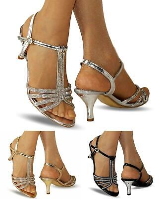 £16.99 • Buy NEW Ladies Party Prom Diamante Ankle Straps Low Kitten Heel Shoes Sandals 30-105