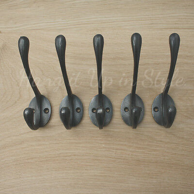 £12.95 • Buy Set Of 5 Reproduction 'Vintage Victorian Old School ' Style Cast Iron Coat Hooks